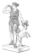 Sculpture Of Artemis (Diana) - Vintage Illustration From Meyers Konversations-Lexikon 1897