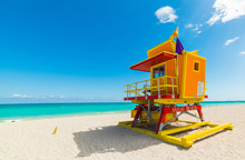Colorful Lifeguard Tower Under...