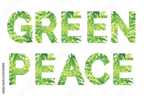 Bright green Green Peace words. Classic and universal text for cards,  badges, postcards, posters, prints white isolated - Buy this stock vector  and explore similar vectors at Adobe Stock   Adobe Stock