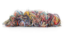 Colorful Tangled Threads Isolated On White Background. Closeup.