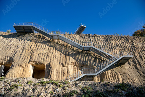 Fotomural Tourist platform stairs and caves at ENCI, Dutch mining area, near Maastricht on