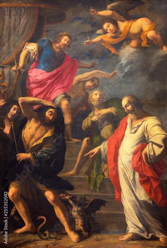 REGGIO EMILIA, ITALY - APRIL 12, 2018: The painting of Biblical scene in church Basilica di San Prospero from 16 cent.