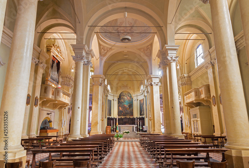 REGGIO EMILIA, ITALY - APRIL 13, 2018: The nave of chruch Chiesa di Santi Giacomo e Filippo apostoli.