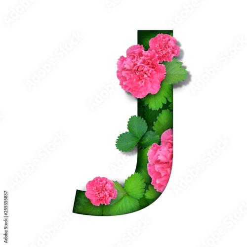 Poster Fleur tropical flora flower font alphabet j design with paper cut style on white background