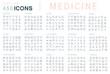 Leinwandbild Motiv Set Vector Line Icons of Medicine