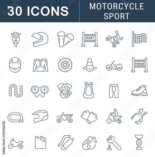 Fotografiet  Set Vector Line Icons of Motorcycle Sport.