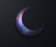 Mystical Night Sky Background With Half Moon. Moonlight Night. Paper Graphic Of Islamic Crescent Moon. Islamic Decoration. Ramadan Kareem. Crescent Moon, Starry Sky.