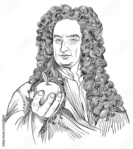 Photo Isaac Newton portrait in line art illustration