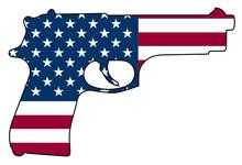 American Flag Gun Automatic Pistol Handgun Isolated Vector Illustration