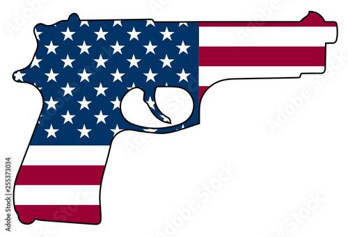 Photo  American Flag Gun Automatic Pistol Handgun Isolated Vector Illustration