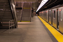 Empty Subway Station In New York, Manhattan.