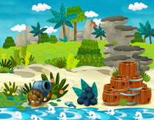 Cartoon Scene With Beach Shore...