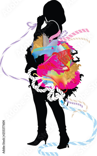 Foto op Plexiglas woman silhouette in a fancy dress, singing into a microphone, vector illustration over a white background