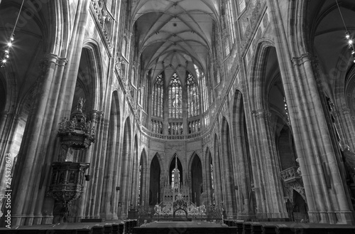 PRAGUE, CZECH REPUBLIC - OCTOBER 14, 2018: The sanctuary of gothic St. Vitus cathedral.