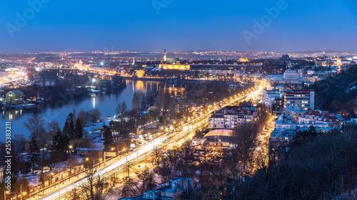 Fotografie, Obraz  Vltava River and Vysehrad in Podoli