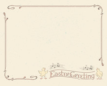 Happy Easter Greeting Typography Logotype With Singing Chickens, Retro Vintage Frame. Lettering And Border In Art Nouveau Style For Greeting Card, Invitation, Poster Background Calligraphy Template