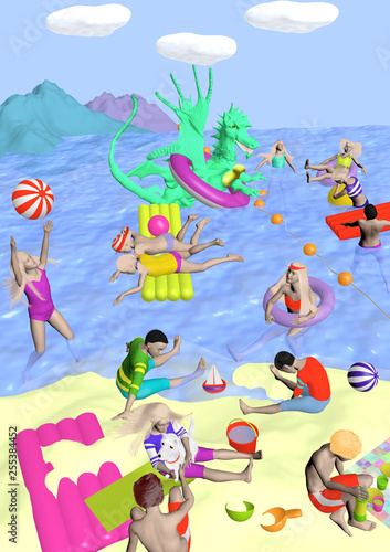 Fotobehang Dinosaurs children playing on a beach with a dragon, raster illustration