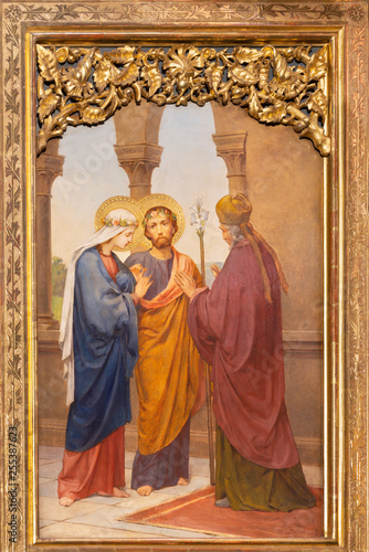 PRAGUE, CZECH REPUBLIC - OCTOBER 12, 2018: The painting of Wedding of Virgin Mary and St. Joseph in church Bazilika svatého Petra a Pavla na Vyšehrade by S. G. Rudl (1895).