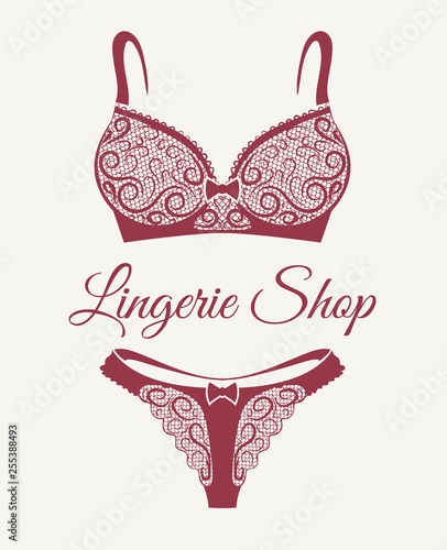 Obraz Lingerie Shop Retro Emblem - fototapety do salonu
