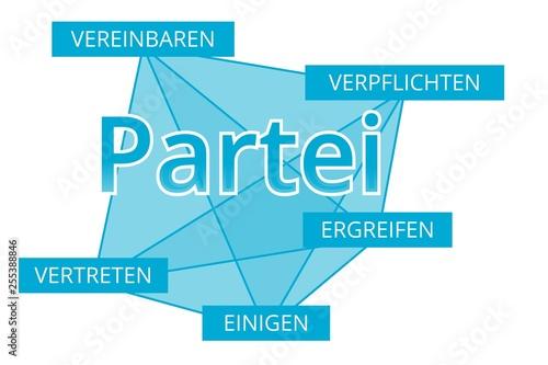Valokuva  Partei - Begriffe verbinden, Farbe blau