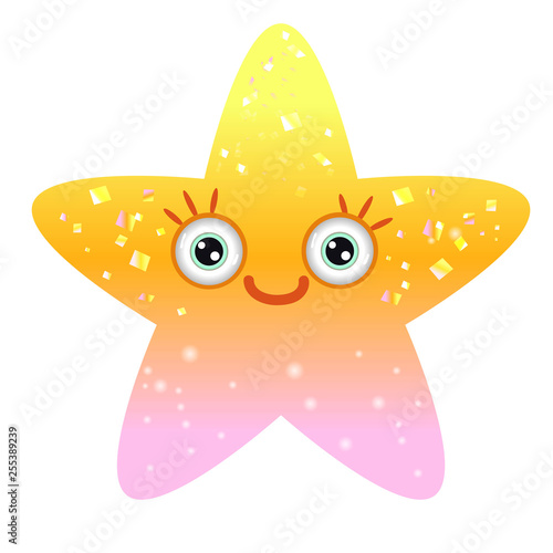 Shiny yellow star with smiling eyes. Emoji star in gradient.