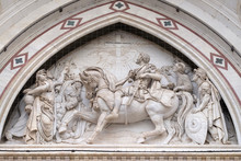 Sculpted Lunette Containing A Scene Depicting The Vision Of Constantine, By Emilio Zocchi, Over The Right Door Of Basilica Of Santa Croce In Florence, Italy