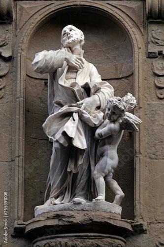 Photo Saint Andrew (Andrea) Avellino statue on the facade of Santi Michele e Gaetano c