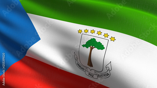 Fotomural  Equatorial Guinea national flag blowing in the wind isolated