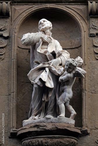 Saint Andrew (Andrea) Avellino statue on the facade of Santi Michele e Gaetano c Canvas Print