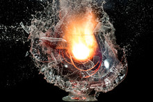 The Explosion Of A Glass Of Wi...