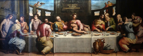 The Last Supper of Christ by Giorgio Vasari, Basilica di Santa Croce (Basilica of the Holy Cross) in Florence, Italy