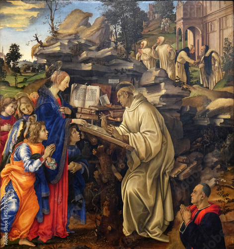 Apparition of the Virgin to Saint Bernard of Clairvaux by Filippino Lippi, Badia Wallpaper Mural