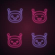 Robot Emojis Neon Light Icons Set