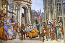Saint John The Evangelist Resurrecting Drusiana, Fresco By Filippino Lippi In The Strozzi Chapel Of The Santa Maria Novella Church In Florence, Italy