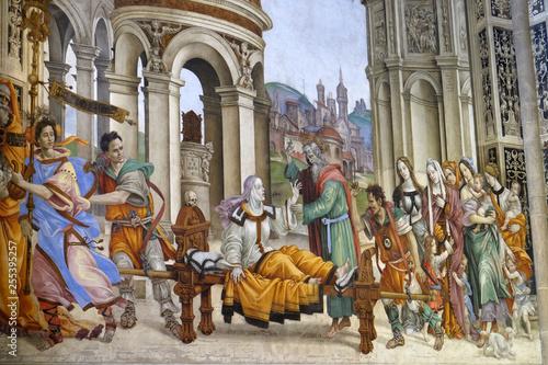 Canvas Print Saint John the Evangelist Resurrecting Drusiana, fresco by Filippino Lippi in th
