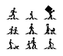 Pedestrian Icon, Stick Figure Man At A Pedestrian Crossing, Crossing The Road, Isolated Pictograms, A Set Of Different Silhouettes