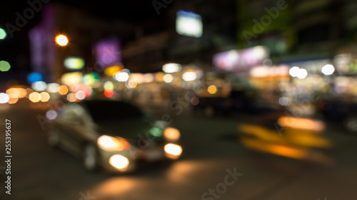 In de dag Las Vegas abstact blur bokeh of Evening traffic jam on road in city., night scene