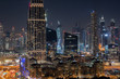 Colourful night time view of downtown Dubai