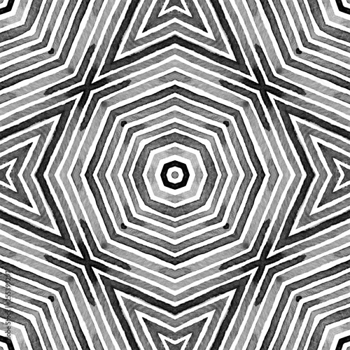 Fotografia  Black and white Geometric Watercolor. Cool Seamles