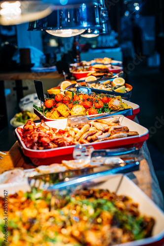 Aluminium Prints Buffet, Bar Breakfast Buffet Concept, Breakfast Time in Luxury Hotel, Brunch with Family in Restaurant - Image