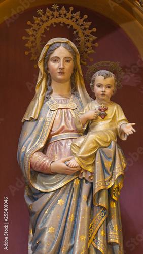 PALMA DE MALLORCA, SPAIN - JANUARY 28, 2019: The carved polychrome Madonna in church Iglesia Nuestra Senora del Socorro.