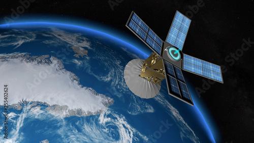étude de la fonte des glaces par un satellite d'observation Wallpaper Mural