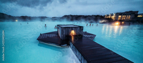 Leinwand Poster Reykjavik, Iceland - July 4, 2018: Beautiful geothermal spa pool in Blue Lagoon in Reykjavik