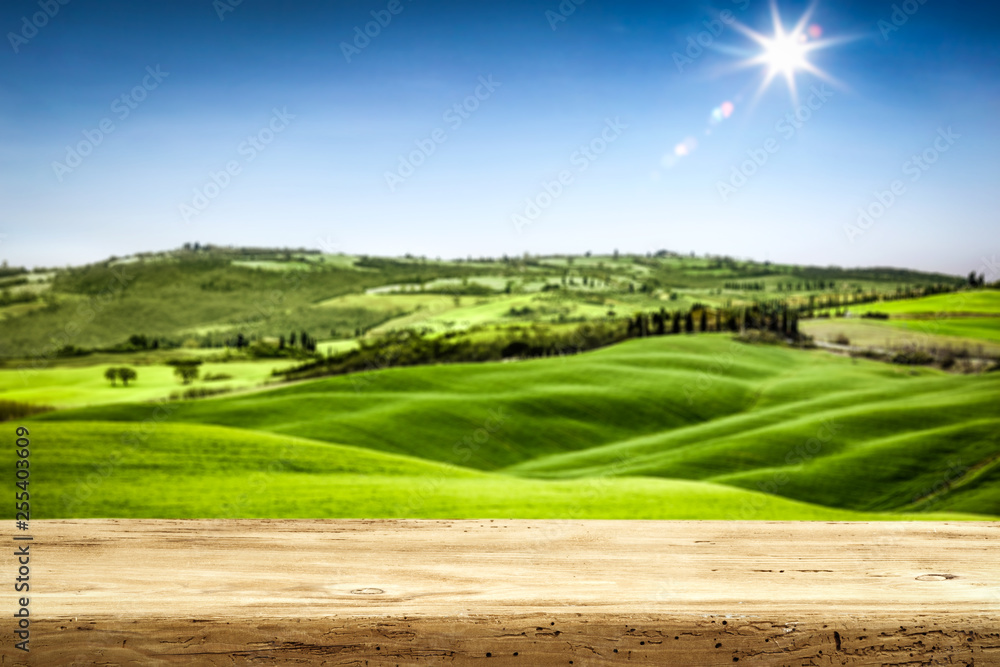 desk of free space for your decoration and landscape of spring Tuscany.