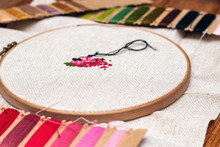 Cross Stitching Embroidery Set With Colorful Threads