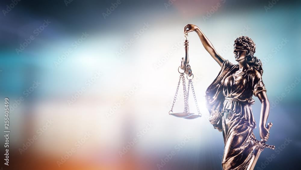 Fototapeta Themis, symbol of law on modern background.