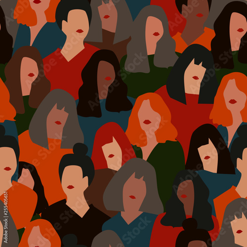 Fototapety, obrazy: Female diverse faces of different ethnicity seamless pattern. Women empowerment movement pattern. International women's day graphic in vector