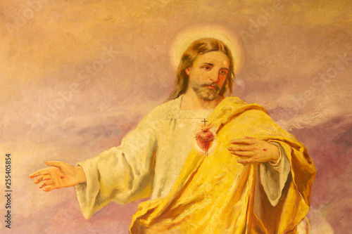 Valokuva PALMA DE MALLORCA, SPAIN - JANUARY 29, 2019: The painting of Heart of Jesus in the church Iglesia de Santa Teresa de Jesus