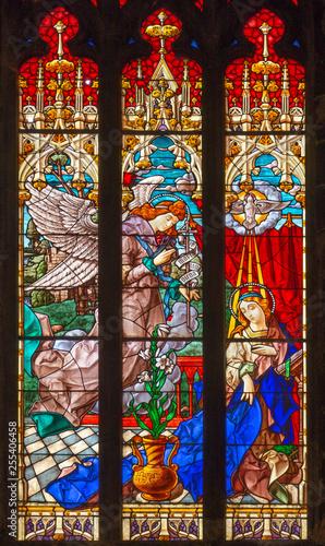 PALMA DE MALLORCA, SPAIN - JANUARY 29, 2019: The Annunciation in the stainedglass of the church Esglesia de la Inmaculada Concepcion.