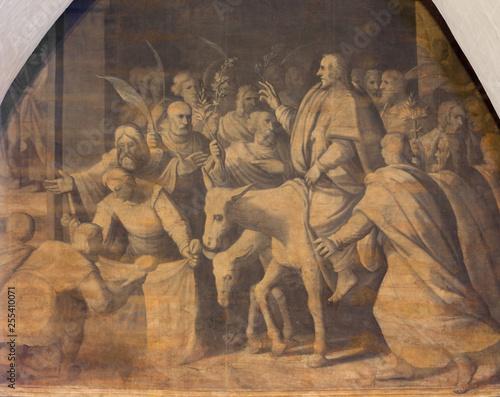 ZARAGOZA, SPAIN - MARCH 3, 2018: The painting Entry of Christ in Jerusalem in the church Iglesia de San Pablo by Antonio Glaceran and Jeronimo de Mora (1596).